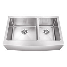 "Hardware Resources HA225 35-7/8"" Farmhouse Double Basin Stainless - Stainless"