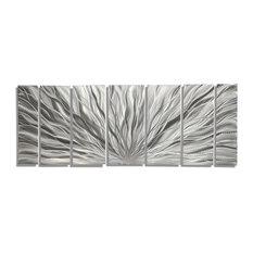"""Jon Allen Fine Metal Art - Beautiful Silver Panel Metal Wall Art, Silver Plumage, 68""""x24""""x2"""" - Metal Wall Art"""