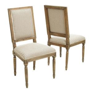 GDF Studio Martin Weathered Stripe Dining Chairs, Dark Coffee, Set of 2