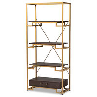 Cerelia Gold-Tone Steel and Dark Brown Wood 3-Shelf Accent Bookcase With Drawer