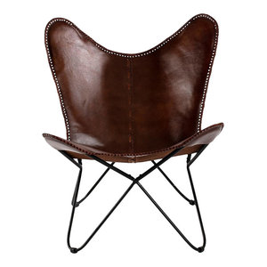 Traditional Accent Chair, Iron Frame and Brown Faux Leather Upholstery