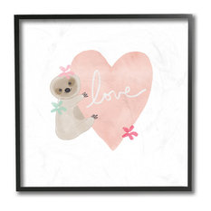"""Pastel Sloth Love Hugging a Pink Heart with Flowers Framed Giclee, 12""""x12"""""""