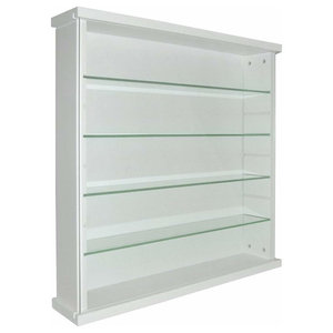Display Cabinet, White Painted Solid Wood With Glass Sliding Doors, 4-Shelf