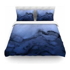 "Ebi Emporium ""Winter Waves 3"" Blue Black Featherweight Duvet Cover, 104""x88"""