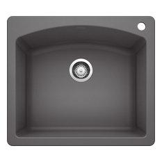 "Blanco 441463 22""x25"" Granite Single Dual-Mount Kitchen Sink, Cinder"