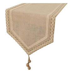 """Designer Decorative Table Runners, Natural Beige Ivory, 14""""x90"""", Cotton"""