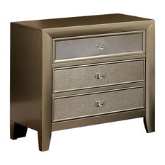 Benzara, Woodland Imprts, The Urban Port - Briella Transitional Night Stand, Metallic Finish - Nightstands and Bedside Tables