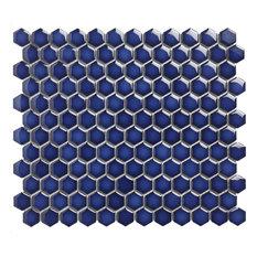 "10.2""x11.8"" Glazed Porcelain Mosaic Barcelona 1"" Hexagon Cobalt Blue, Set of 10"