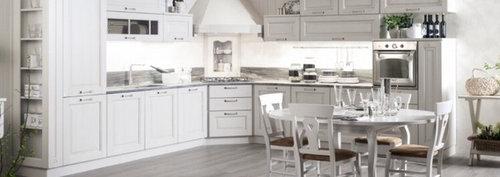 Cucina bianca classica, colore top e piastrelle?