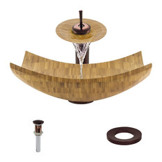Bamboo Vessel Sink, Oil Rubbed Bronze, Waterfall Faucet