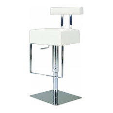Chintaly Imports Pneumatic Gas Lift Adjustable Height Swivel Stool 0812-AS-WHT