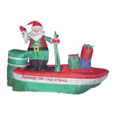 Long Christmas Inflatable Santa Claus Fishing on Boat, 8'