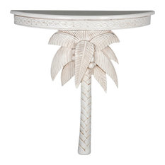 Windsor Carved Wood Palm Tree Console Table - Antique White