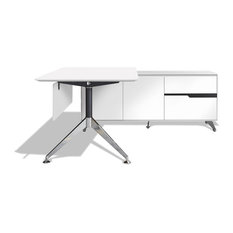 Superieur Jesper Office   400 Series Executive Desk And Right Credenza White   Desks  And Hutches