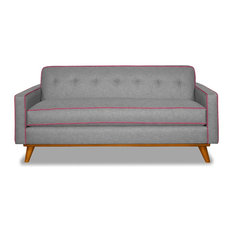 "Clinton Apartment Size Sofa, Mountain Gray/Pink Lemonade, 57""x34""x30.5"""