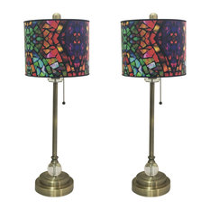 """28"""" Crystal Buffet Lamp With Mosaic Stained Glass Shade, Antique Brass, Set of 2"""