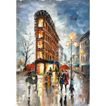 "Bayland Collection - ""Rainy Paris Streets XI""Oil Painting Print on Wrapped Canvas; Modern Fine Art - Up the ante of your gallery wall with this hand-wrapped canvas print, crafted in the United States.Add this piece above your favorite sofa for a museum-worthy focal point."