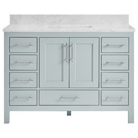 "Kendall Sky Blue Bathroom Vanity Base, 48"", Vanity With Carrara Marble Top"