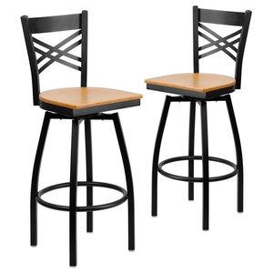 """Hercules Series """"X"""" Back Swivel Metal Barstools, Black/Natural Wood, Set of 2"""