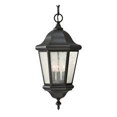 Martinsville 3-Light Outdoor Pendant Lantern, Black