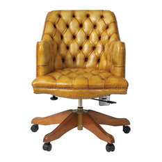 Dean Leather Swivel Chair, Whiskey, Genuine Fur Filling