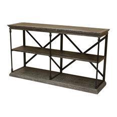 GDF Studio Braylon 3-Shelf Industrial Wood Bookshelf, Dark Tan Gray