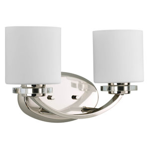 Nisse Collection 2-Light Polished Nickel Bath Light With K9 Glass Accents