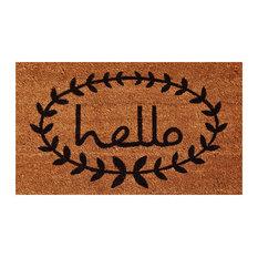 "Calico Hello Doormat, Natural, Black, 24""x36"""