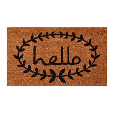 "Calico ""Hello"" Doormat, Natural and Black, 24""x36"""