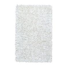 """Shimmer Shag 21""""x34"""" Rug, White"""