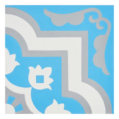 "8""x8"" Taza Handmade Cement Tile, Blue/White/Gray, Set of 12"
