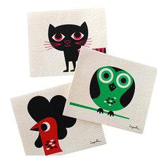 - Swedish Dishcloth Set of 3 Modern Retro Cat, Owl, & Rooster - Dish Towels
