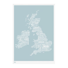 50 most popular prints and posters for 2018 houzz bold noble uk and ireland type map duck egg blue 50x70 cm gumiabroncs Choice Image