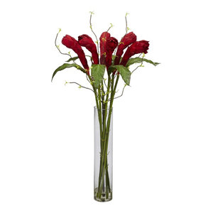 Roses With Cylinder Vase Silk Flower Arrangement Contemporary Artificial Flower Arrangements By Nearly Natural Inc