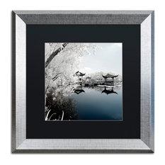 "Philippe Hugonnard 'Blue Lake I' Art, Silver Frame, Black Matte, 16""x16"""