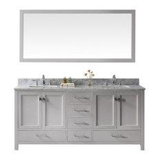 "Caroline Avenue 72"" Double Bathroom Vanity, Cashmere Gray With Square Sink"