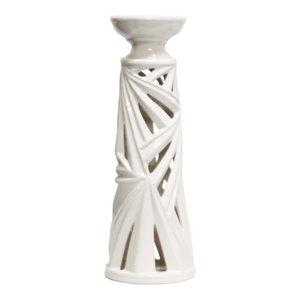 "Sagebrook Home White Palm Leaf Candle Holder 19"" Tealight"