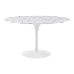 """Hawthorne Collection 54"""" Round Faux Marble Top Dining Table in White"""