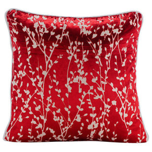 Red Burnout Velvet 40x40 Red Willow Cushions Cover, Cayenne Red Drops