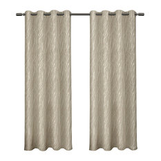"""Forest Hill Woven Room Darkening Grommet Curtain Panels, Natural, 54""""x96"""""""