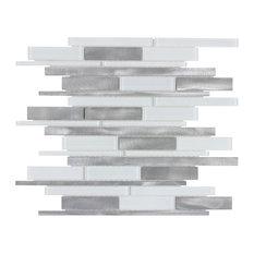 MTO0142 Modern Linear Gray White Glossy Glass Metal Mosaic Tile
