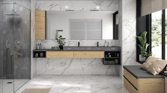 Salle de bain sur-mesure bois et béton