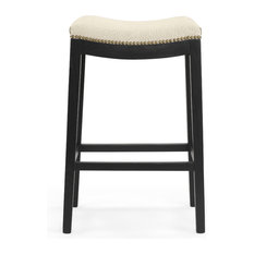 Wilson Wooden Bar Stool, Black Lacquer With Natural Linen Upholstery