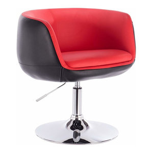 Consigned Swivel Bar Stool Upholstered, Faux Leather, Red