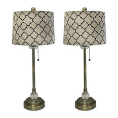 "28"" Crystal Buffet Lamp With Moroccan Print Drum Shade, Antique Brass, Set of 2"
