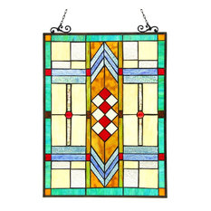 MATHIAS, Tiffany-glass Window Panel, 17.5x25