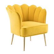 Jester Velvet Accent Chair, Yellow