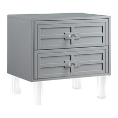Martina Lacquer-Finish Lucite Leg and Handle Side Table, Light Grey