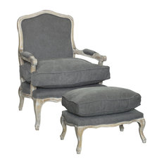 Rodney Living Room Chair and Ottoman, 2-Piece Set, Fabric, Frost Gray
