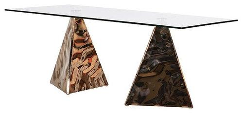 ダブルピラミッドベースダイニングテーブル - ダイニングテーブル